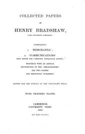 Collected Papers of Henry Bradshaw: Volume 1