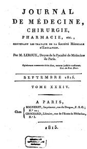 Journal de médecine, chirurgie, pharmacie: Volume 34