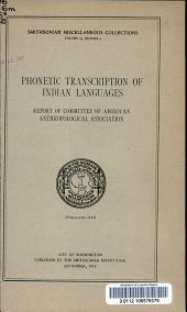 Phonetic Transcription of Indian Languages: Report of Committee of American Anthropological Association, Volume 66