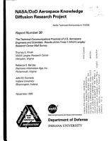 NASA DoD aerospace knowledge diffusion research project  Report number 36  The technical communications practices of U S  aerospace engineers and scientists results of the phase 1 NASA Langley Research Center Mail Survey PDF