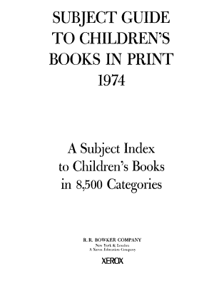 Subject Guide to Children s Books in Print PDF