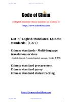 List of English translated Chinese standards    GB T    PDF