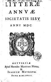 Litterae annuae Societatis Iesu anni 1600