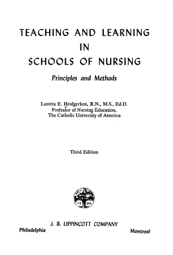 Teaching and Learning in Schools of Nursing PDF