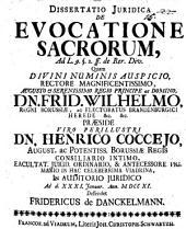 Dissertatio iuridica de evocatione sacrorum: ad L. 9. § 2. ff. de Rer. Div