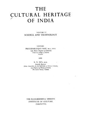 The Cultural Heritage of India  Science and technology