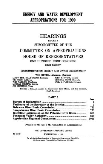 Energy and Water Development Appropriations for 1990 PDF