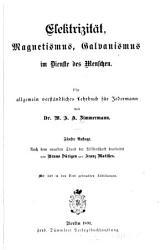Elektrizit  t  Magnetismus Galvanismus im Dienste des Menschen PDF