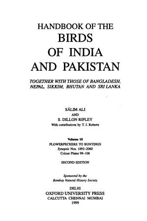 Handbook of the Birds of India and Pakistan PDF