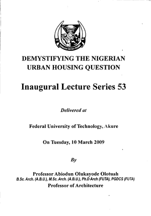 Demystifying the Nigerian Urban Housing Question