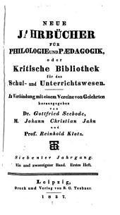 Jahnscher Jahrbücher für Philologie und Paedagogik: Bände 21-22