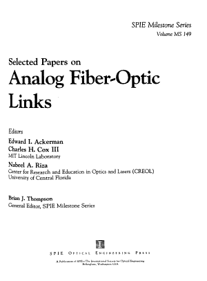 Selected Papers on Analog Fiber optic Links PDF