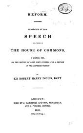 Reform. Substance of the speech delivered in the House of Commons 1 March 1831 on the Motion of Lord John Russell for a reform in the representation