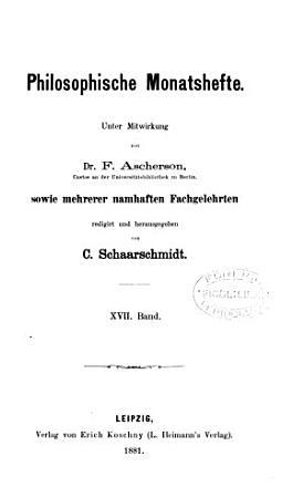 Philosophische Monatshefte PDF