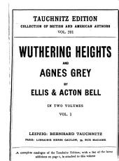 Wuthering Heights and Agnes Grey: Volume 1