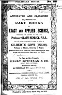 Catalogue of Rare Works on Exact and Applied Science PDF