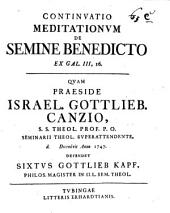 Meditationes in aliquot S. Scripturae oracula de semine benedicto: Ex Gal. III, 16. Continuatio [3]