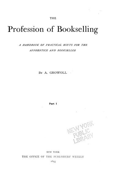 Download The Profession of Bookselling Book