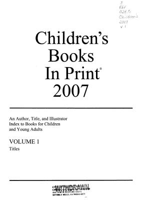 Children s Books in Print  2007 PDF