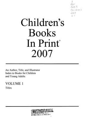 Children s Books in Print  2007 PDF