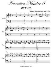 Invention Number 8 Bwv 779 Easiest Piano Sheet Music