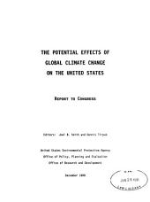 The Potential Effects of Global Climate Change on the United States: Report to Congress