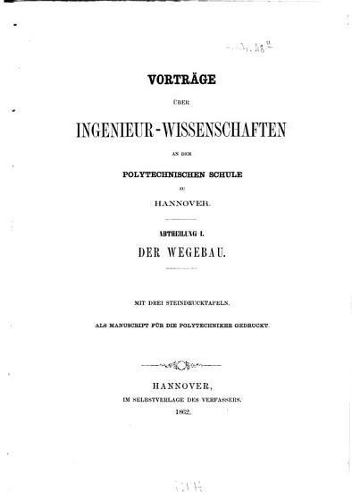 Vortr  ge   ber Ingenieur Wissenschaften an der polytechnischen Schule zu Hannover PDF