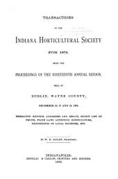 Transactions of the Indiana Horticultural Society, with Proceedings of the ... Annual Meeting