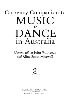 Currency Companion to Music and Dance in Australia PDF