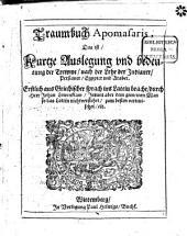 Traumbuch Apomasaris, Das ist Kurtze Auslegung und bedeutung der Trewme[!] nach der Lehr der Indianer, Persianer, Egypter und Araber