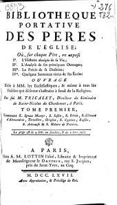 Bibliotheque portative des Peres de L'Eglise ...