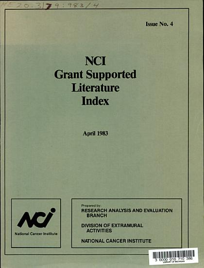NCI Grant Supported Literature Index PDF