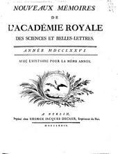 Nouveaux mémoires de l'Académie royale des sciences et belles-lettres