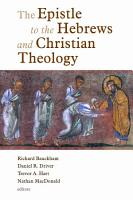 The Epistle to the Hebrews and Christian Theology PDF