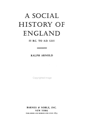 A Social History Of England 55 B C To A D 1215