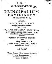 Diss. de principalium familiarum perpetuitate