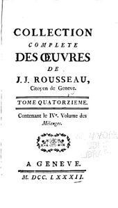 Collection complète des œuvres de J.J. Rousseau: Volume14