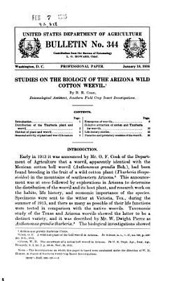 Studies on the Biology of the Arizona Wild Cotton Weevil