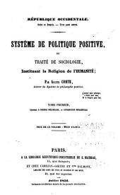 Système de politique positive: Discours préliminaire et l'introduction fondamentale