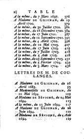 Recueil des Lettres de la marquise de Sévigné à Madame la comtesse de Grignan, sa fille: Volume9