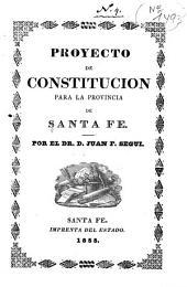Proyecto de constitución para la provincia de Santa Fé