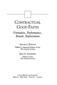 Contractual Good Faith