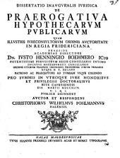 Diss. inaug. iur. de praerogativa hypothecarum publicarum