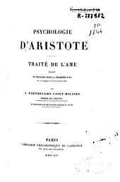 Psychologie d'Aristote: traité de l'âme