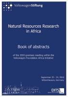 Natural Resources Research in Africa PDF