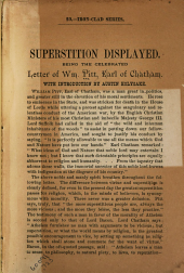 Superstition Displayed: Being the Celebrated Letter of Wm. Pitt, Earl of Chatham