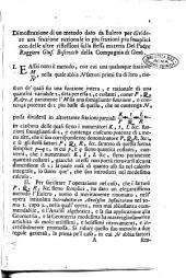 Dimostrazione di un metodo dato da Eulero per dividere una frazione razionale in piu frazioni piu semplici ... del padre Ruggiero Gius. Boscovich ..