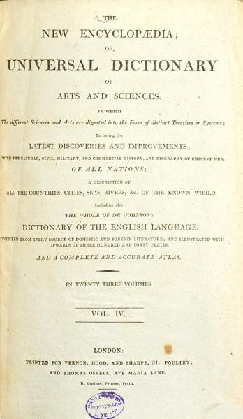 Download The New Encyclopaedia  Or  Universal Dictionary of Arts and Sciences     Book