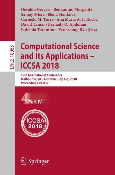 Computational Science and Its Applications     ICCSA 2018