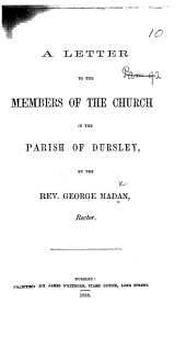 A Letter to the Members of the Church in the Parish of Dursley. [On the appropriation of seats in the parish church.]